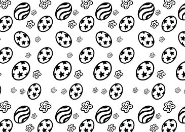 doodle black and white easter egg background