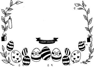 simple black line easter egg background