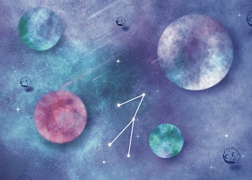 blue space planet watercolor background