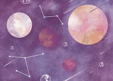 purple planet watercolor background