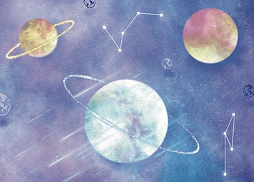 space watercolor paper cut planet background
