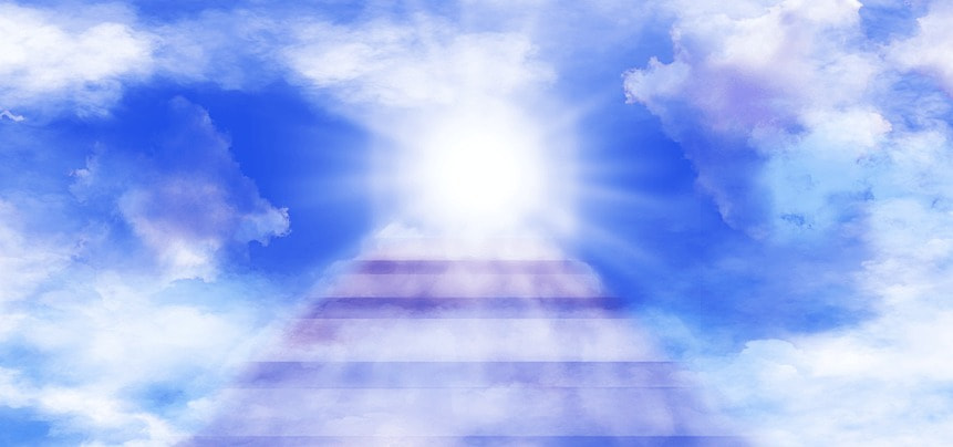 abstract heaven background with clouds light and shadow stairs