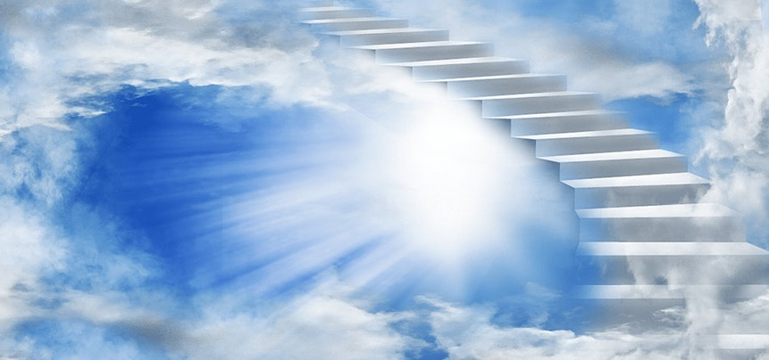 clouds bright white stairs heaven background