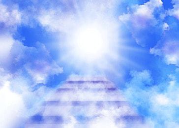 clouds heaven ladder light effect blue background
