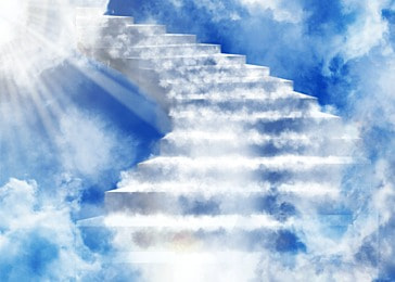 clouds ladder abstract heaven light effect background