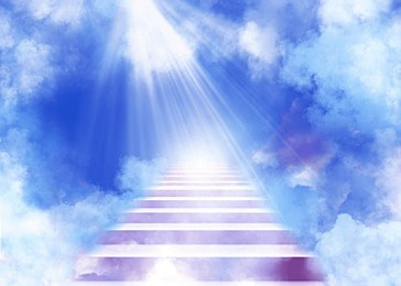 clouds purple stairs abstract heaven background
