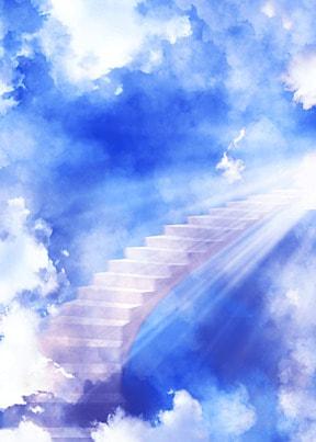 clouds sky ladder light effect heaven background
