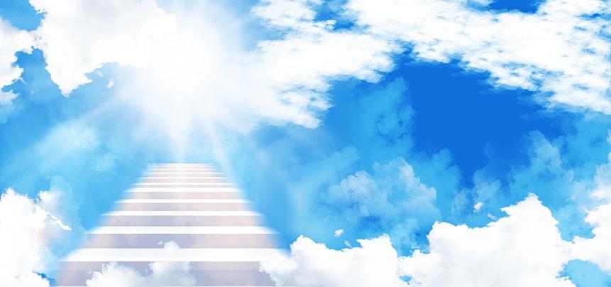clouds white ladder heaven blue background