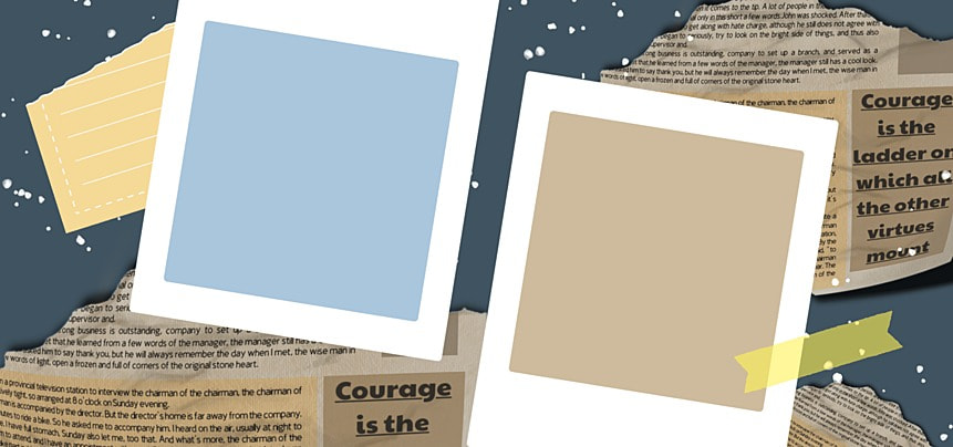 polaroid photo paper abstract newspaper pattern background