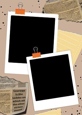 polaroid photo paper black background newspaper text background