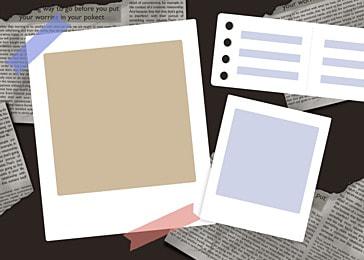 polaroid photo paper cartoon paper notebook background
