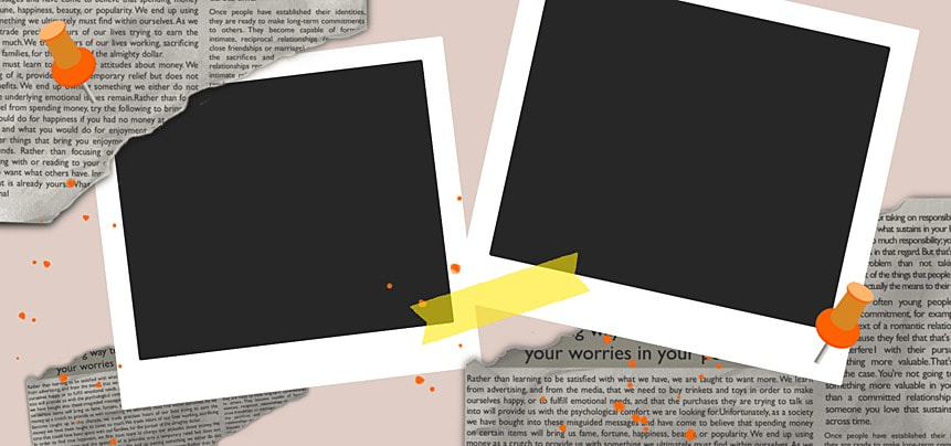 polaroid photo paper notebook newspaper texture background