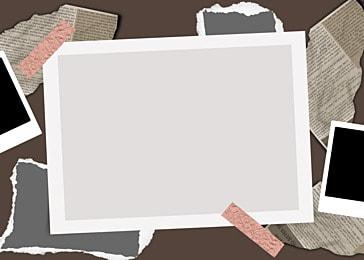 polaroid photo paper on gray newspaper background