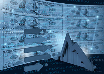 business finance data arrow dollar background