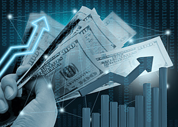 business finance dollar stock market data background