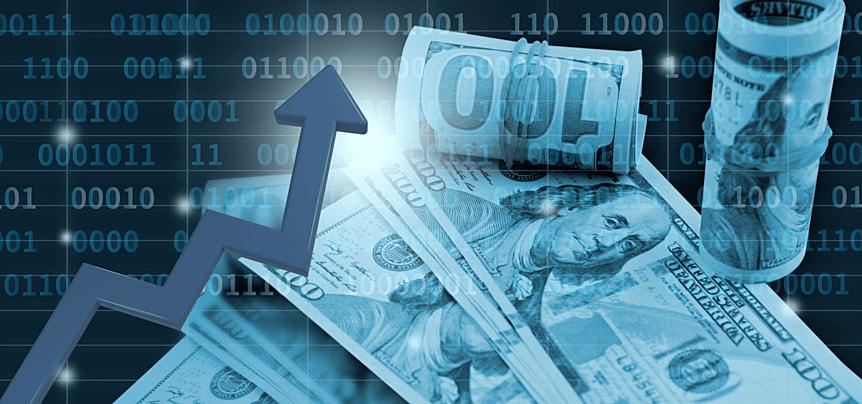 business finance rising stock market dollar sign background