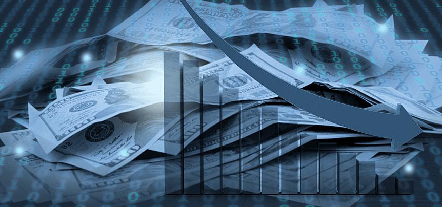business finance stock market decline arrow background