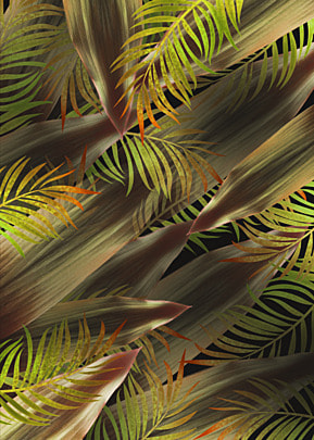tropical plant leaves palm leaves yellow green background