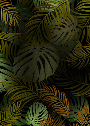 yellow green creative background of palm leaves