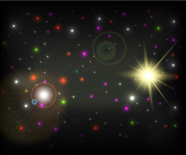 color glow in the night sky new year greeting card background vector black night