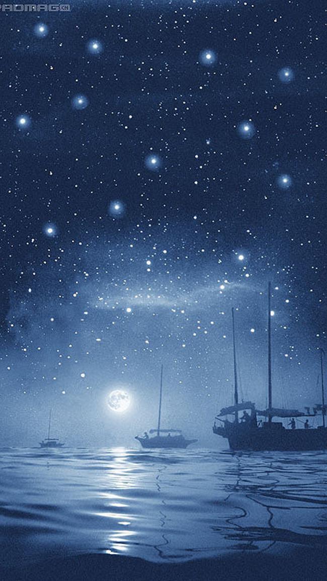 Notte Di Luce Di Stelle Di Mare Di Notte La Superficie Del Mare Il