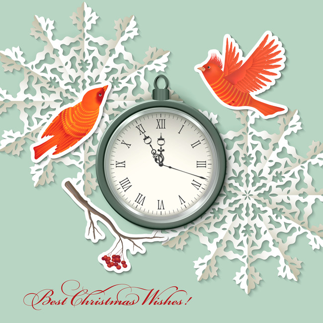 christmas and new year clock bird paper cut snowflakes gray background christmas new