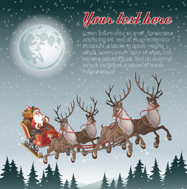 christmas and new year santa claus elk moon night gray background christmas new