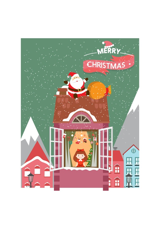 christmas posters christmas cartoon snow mountain background