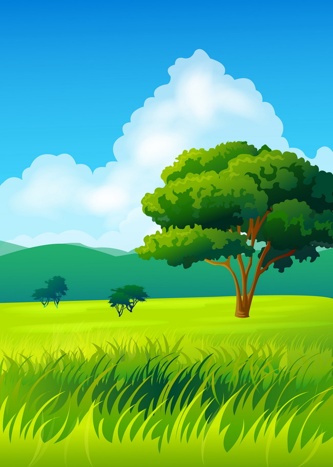 Field Landscape Grass Meadow Background Horizon Sky Spring