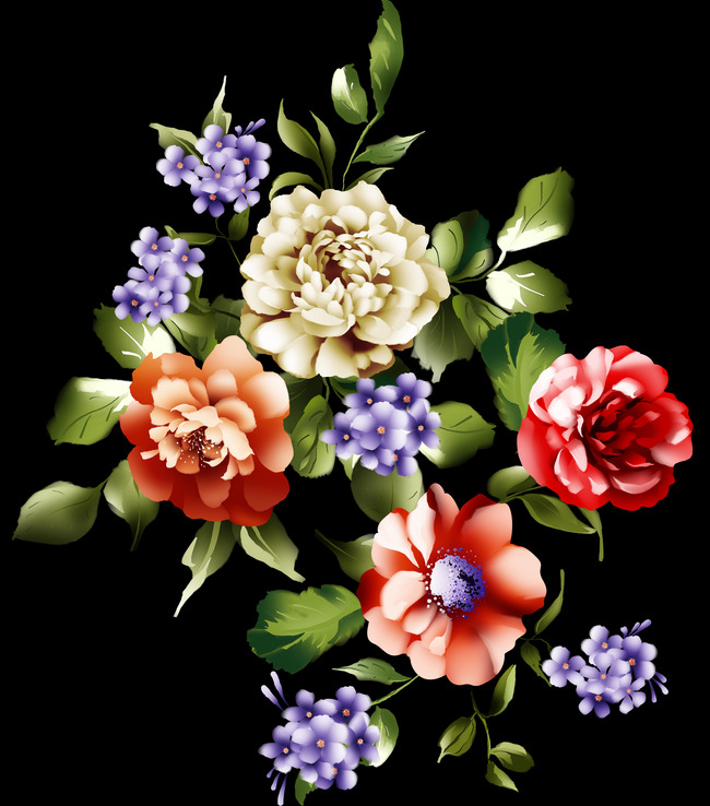 Hermosa Casa De Fondo De Pintura Decorativa Flores Fondo Negro Hogar