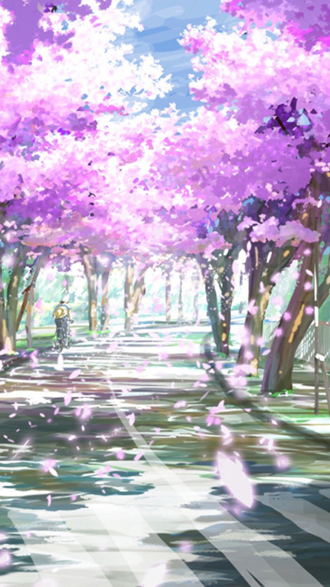 無料ダウンロードのための桜並木イラストh5背景 桜 道 イラストの背景画像