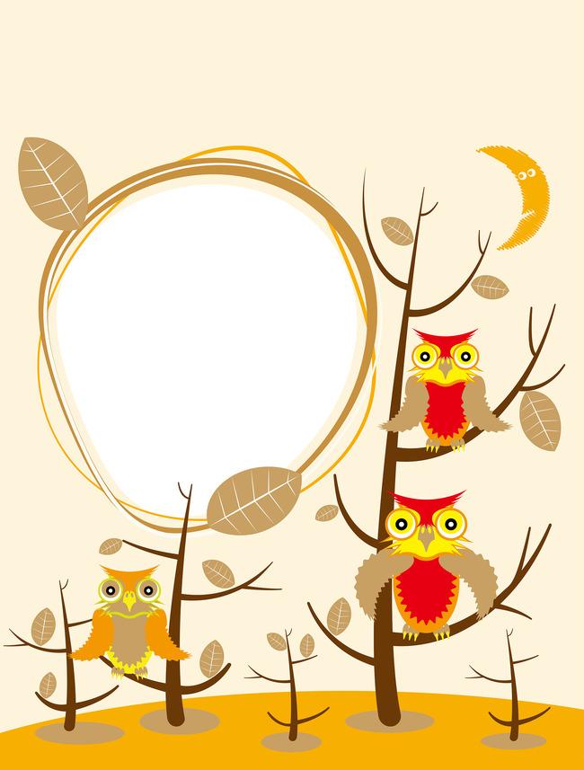 Kartun Burung Hantu Bingkai Gambar Bahan Latar Belakang Kartun Owl