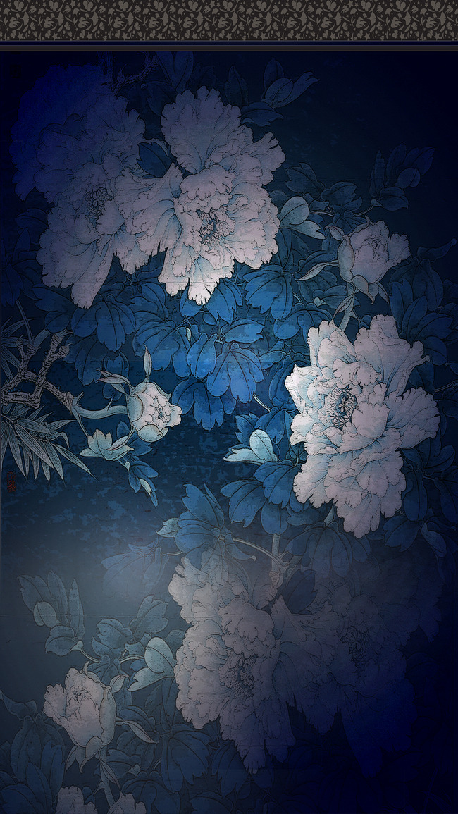 dark blue background creative ink flower h5  navy  blue  ink background image for free download