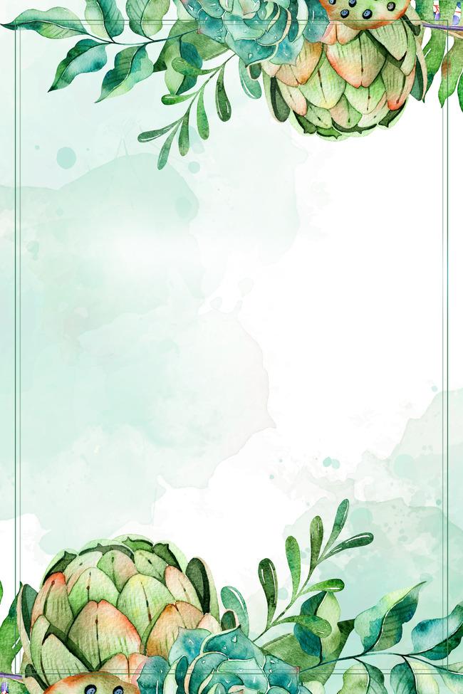 無料ダウンロードのための唯美渋い緑イラストポスターpsd背景素材 唯美の