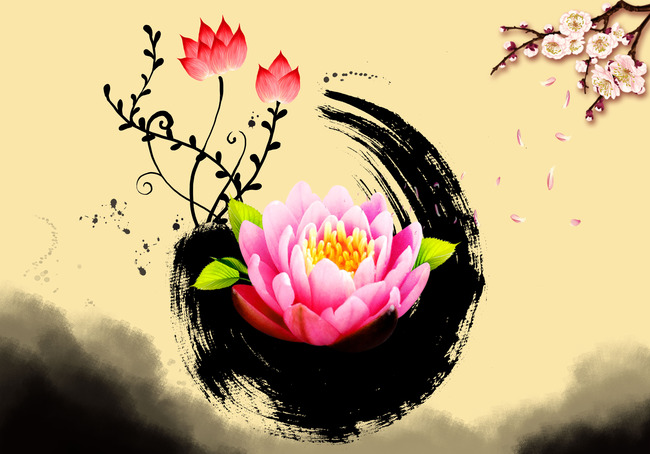 Pink Lotus Flower Blooming Background Material Chinese Wind Chinese