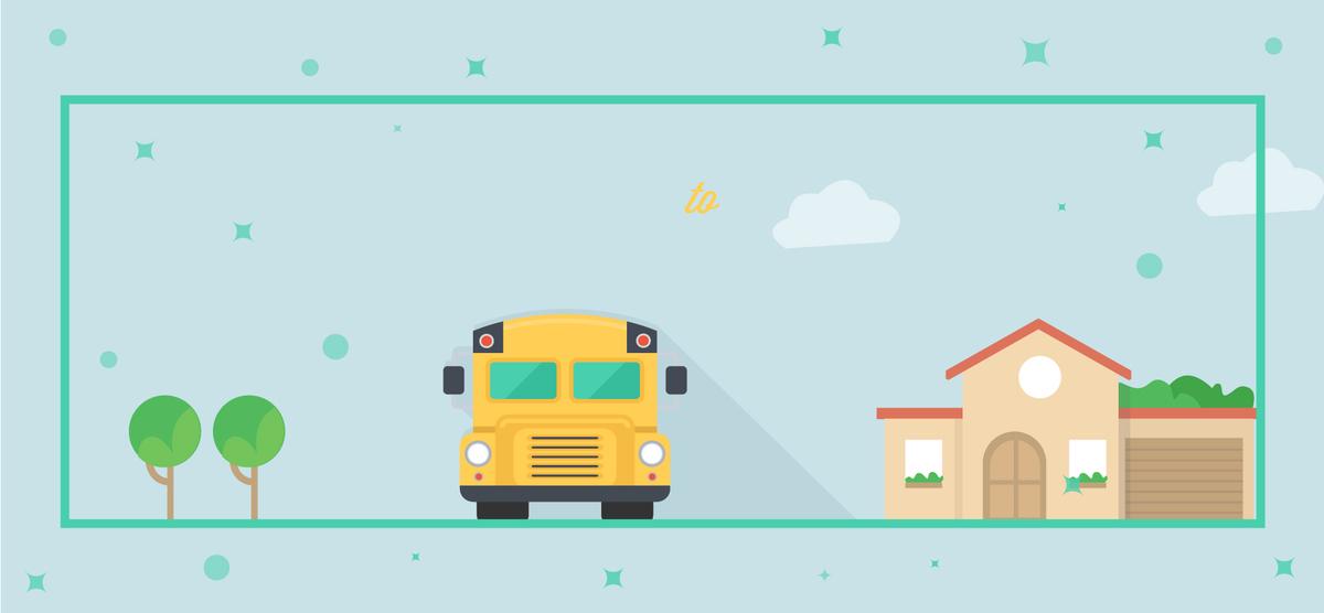 Sekolah Musim Iklan Segar Biru Latar Belakang Kartun Sekolah Dimulai
