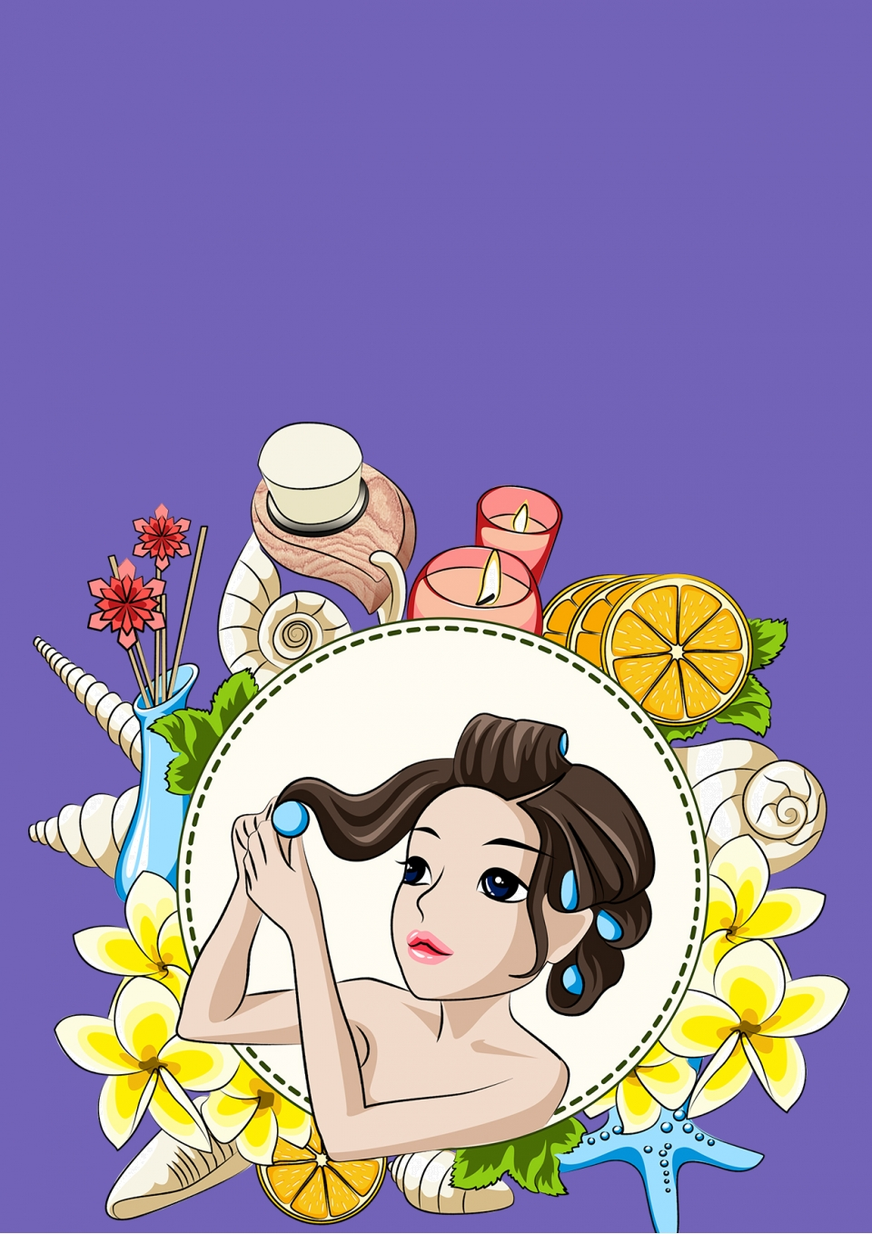 Beauty Salon Background Material Cartoon Purple Poster Background Image For Free Download