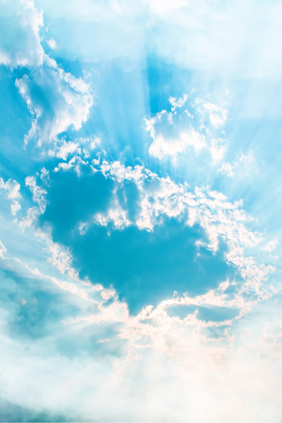 Blue Sky White Clouds Mobile Phone End H5 Background Blue