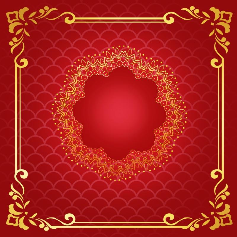 Chinese Style Gorgeous Wedding Album Invitation Vector