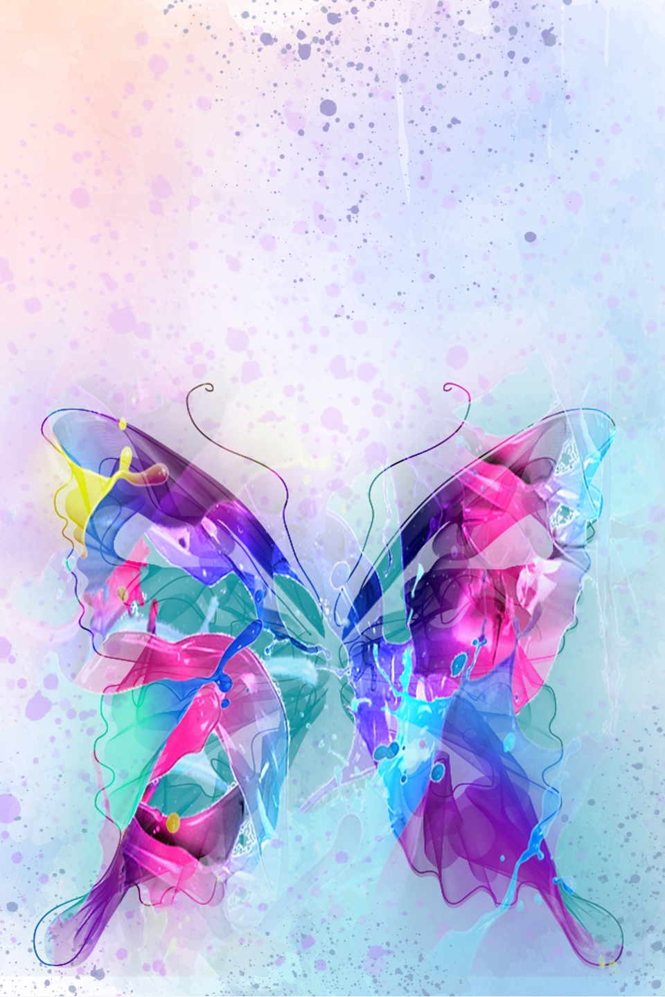 Hand Drawn Abstract Colorful Butterfly ...