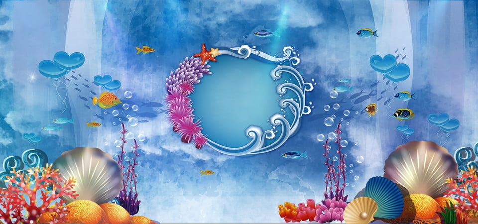Stage Wedding Undersea Dreamy Blue Banner Background Marriage Wedding Stage Wedding Background Image For Free Download