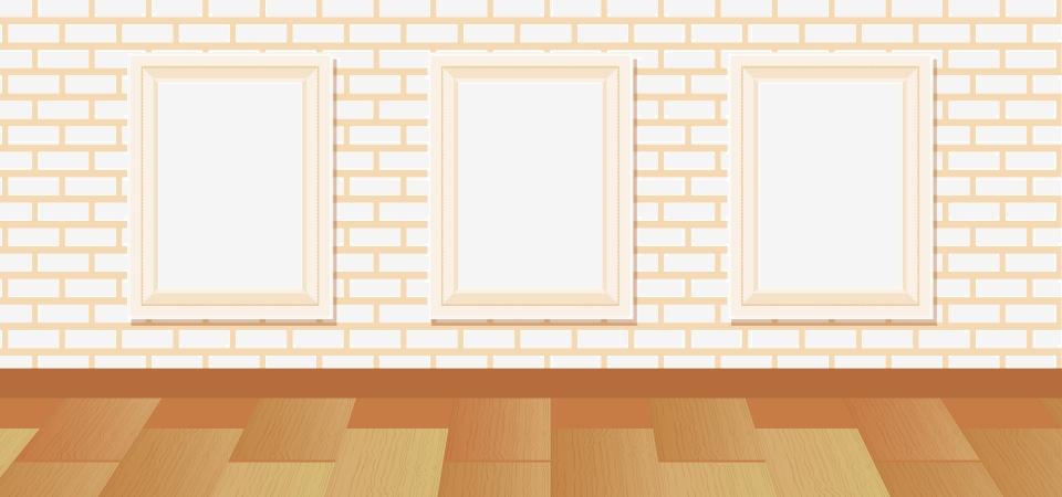 Taobao Vector Cartoon Exhibition Hall Photo Wall Wooden Floor Brick Wall Poster Vector Gray Cartoon Background Image For Free Download