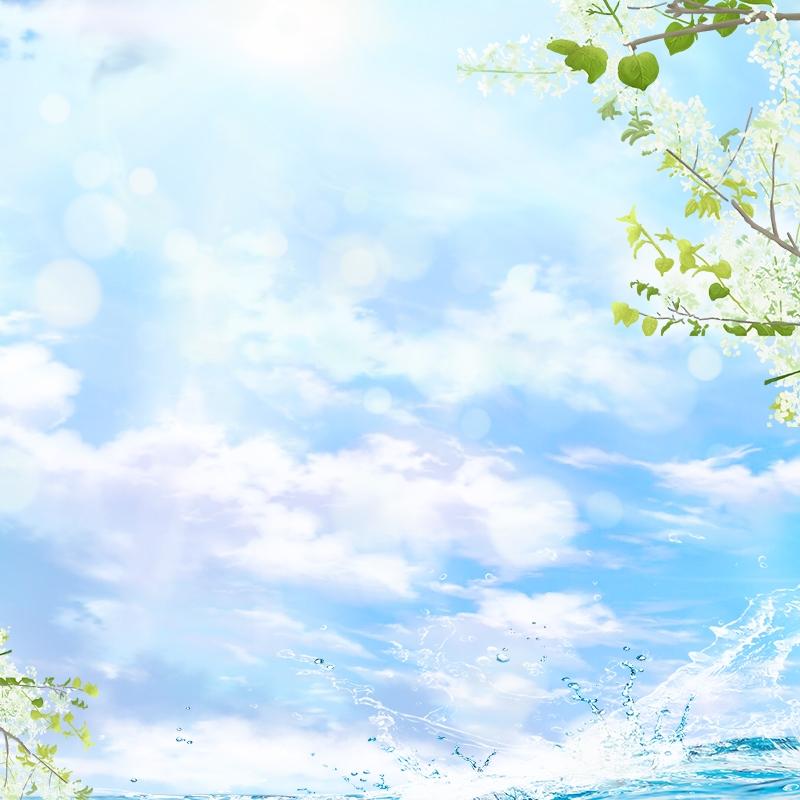Latar Belakang Biru Bunga Segar Dan Elegan Bunga Putih Percikan Air