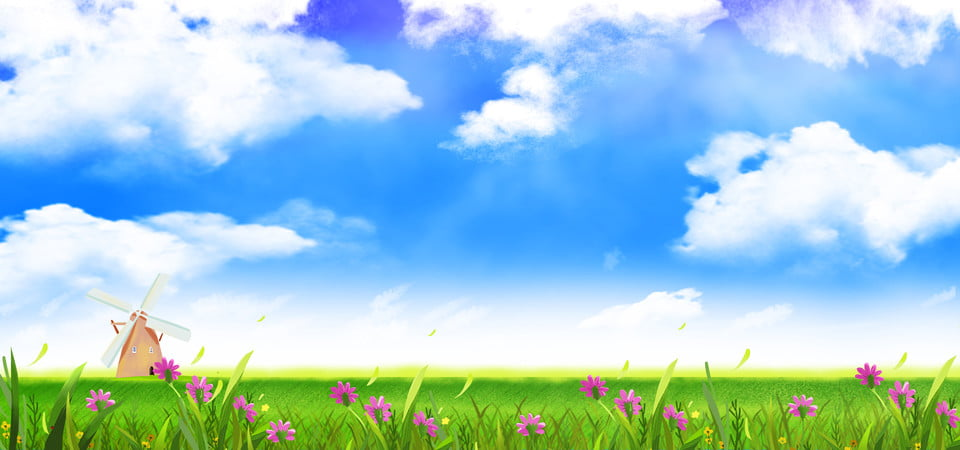 blue sky white clouds meadow flowers background image for free download https pngtree com freebackground blue sky 1054705 html