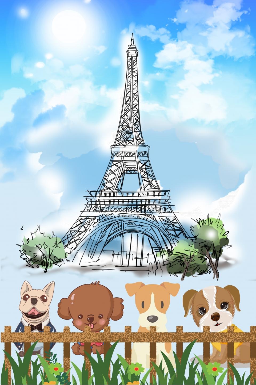 Menara Eiffel Seni Bina Pemandangan Hewan Peliharaan Di