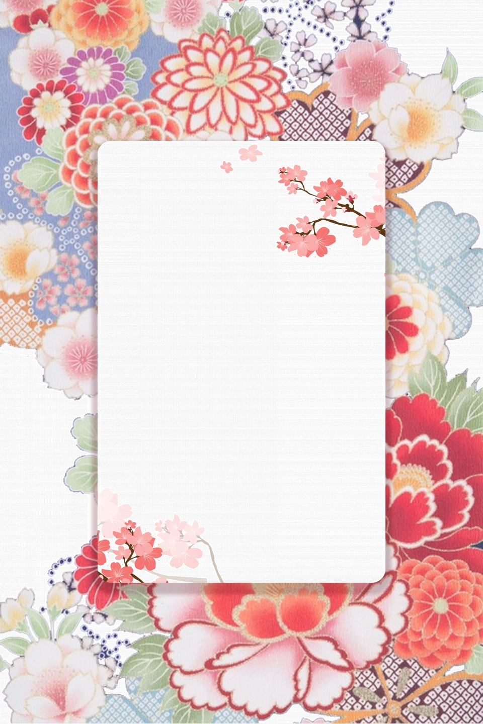 Japanese Style Vintage Hand Painted Flower Texture H5 Background