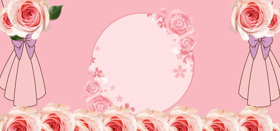 Pink Romantic Rose Wedding Background Material Romantic