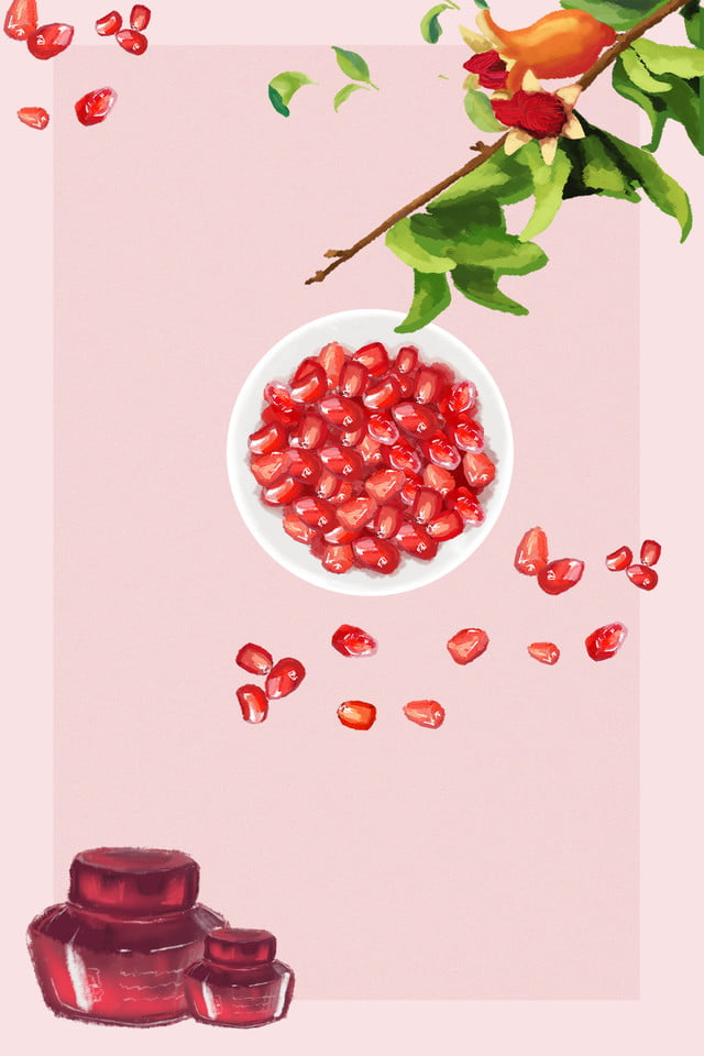 Pomegranate Skin Care Poster Background Material High End Skin Care Pomegranate Series Products Reflecting Natural Plant Background Image For Free Download