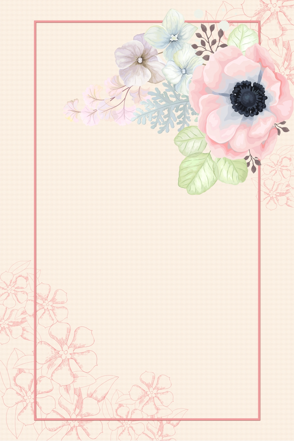 Small Fresh Pattern Wedding Invitation Background Material Fresh Pattern Wedding Background Image For Free Download