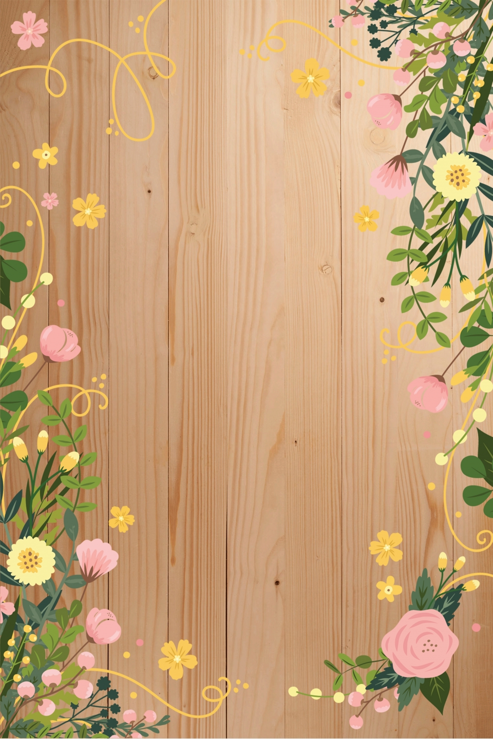 Vector Literary Wooden Board Watercolor Flowers Border Background